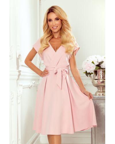 348-1 SCARLETT - rozkloszowana sukienka z kopertowym dekoltem - PUDROWY RÓŻ