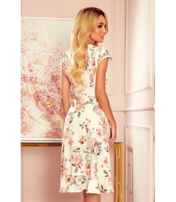 349-1 Kopertowa sukienka z falbankami - BRZOSKWINIOWE KWIATY