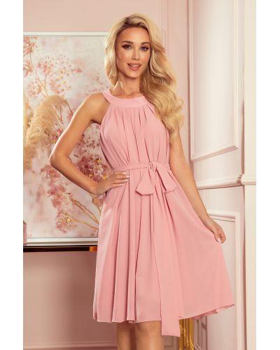 350-2 ALIZEE - szyfonowa sukienka z wiązaniem - PUDROWY RÓŻ