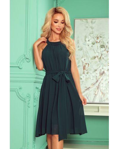 350-4 ALIZEE - szyfonowa sukienka z wiązaniem - ZIELEŃ BUTELKOWA
