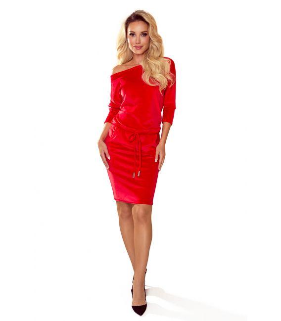 13-135 Sukienka sportowa z wiązaniem i kieszonkami - WELUROWA - CZERWONA