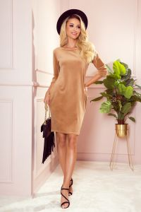 40-15 JOLA - welurowa sukienka z kieszeniami - BEŻOWA