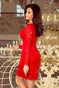 170-6 Sukienka koronkowa z długim rękawkiem i DEKOLTEM - CZERWONA