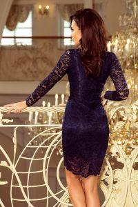 170-7 Koronkowa sukienka z długim rękawkiem i DEKOLTEM - GRANATOWA