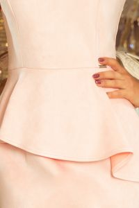 192-8 Elegancka sukienka MIDI z baskinką - ZAMSZ - PASTELOWY RÓŻ
