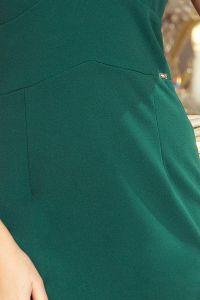 227-1 MEGAN Sukienka z dekoltem i falbankami - ZIELEŃ BUTELKOWA