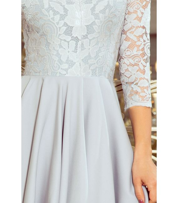 210-9 NICOLLE - sukienka z dłuższym tyłem z koronkowym dekoltem - SZARA