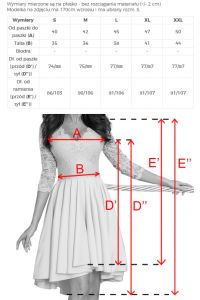 210-5 NICOLLE - sukienka z dłuższym tyłem z koronkowym dekoltem - PASTELOWY RÓŻ + SZARY