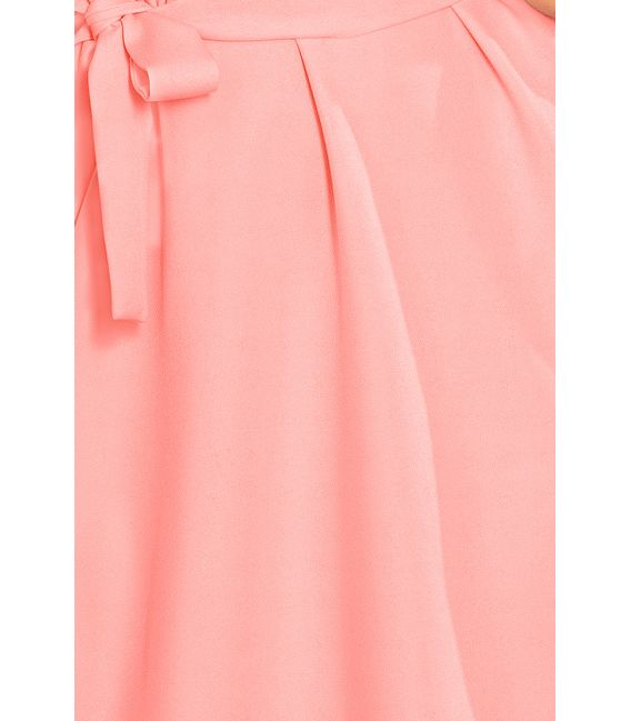 229-1 ROSE Sukienka z wiązaniem i falbankami na rękawkach - PASTELOWY RÓŻ
