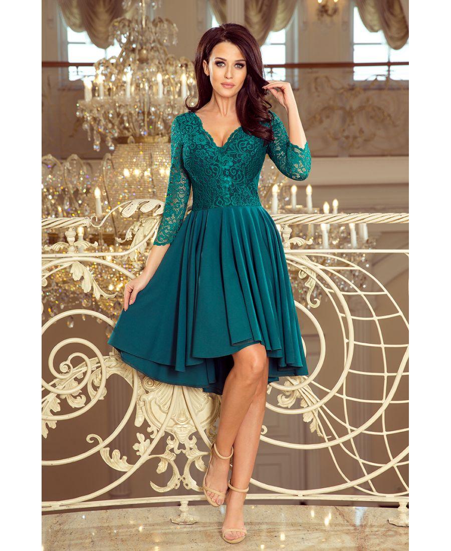 909d9f7ac6 210-8 NICOLLE - sukienka z dłuższym tyłem z koronkowym dekoltem - BUTELKOWA  ZIELEŃ