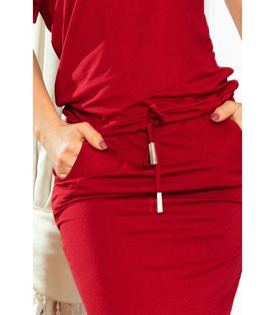 139-5 Sukienka sportowa z KRÓTKIM rękawkiem - BORDOWA