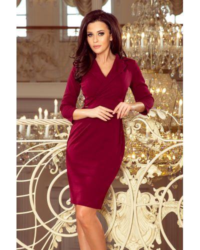 237-2 KELLY Elegancka sukienka z dekoltem - BORDOWA