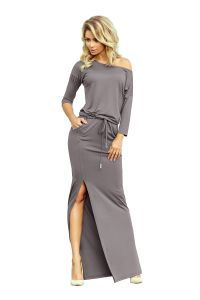 220-6 MAXI sukienka sportowa z rozcięciem - SZARA