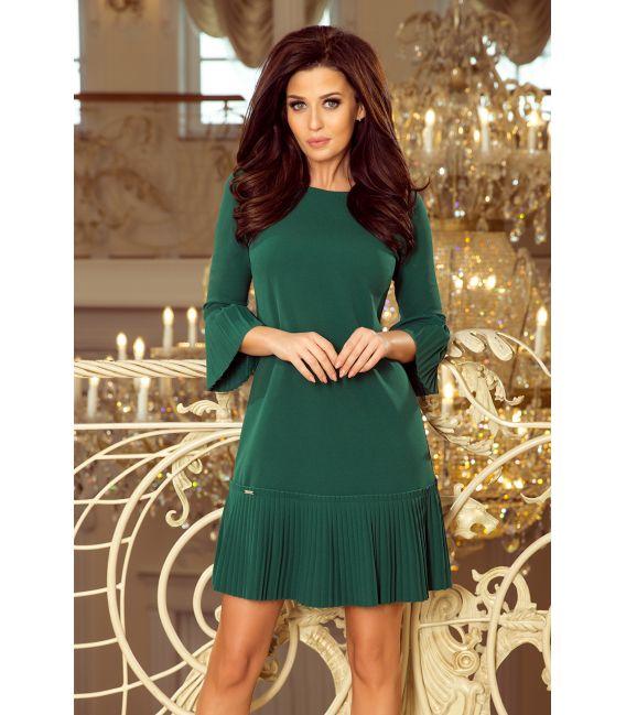 228-2 LUCY - plisowana wygodna sukienka - ZIELEŃ BUTELKOWA
