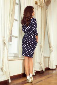 13-101 Sukienka sportowa z wiązaniem i kieszonkami - GRANATOWA W GROCHY