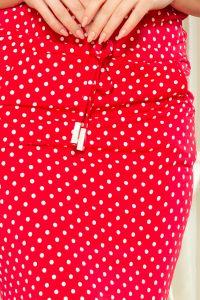 13-98 Sukienka sportowa z wiązaniem i kieszonkami - CZERWONA W GROSZKI