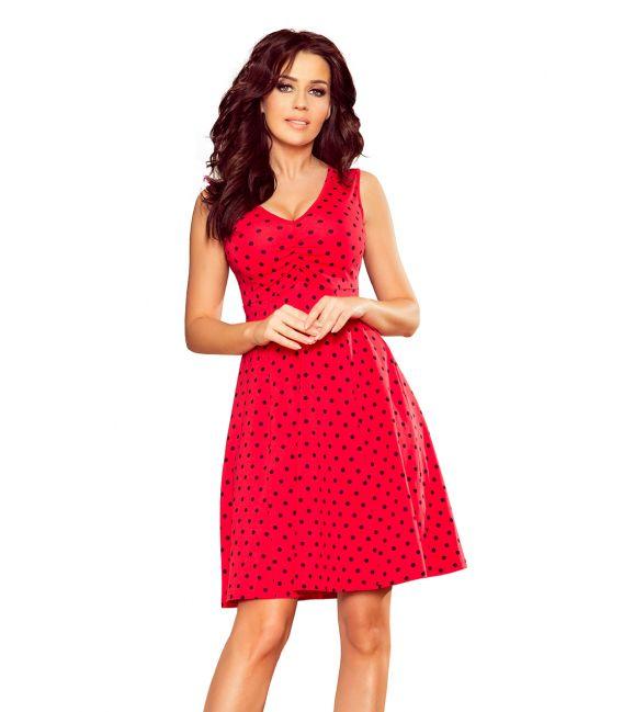 238-1 BETTY rozkloszowana sukienka z dekoltem - CZERWONA W GROSZKI