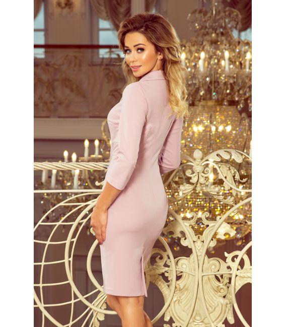 237-1 KELLY Elegancka sukienka z dekoltem - LILA