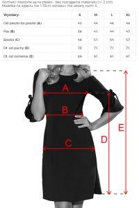 217-4 NEVA Trapezowa sukienka z rozkloszowanymi rękawkami - PASTELOWY RÓŻ