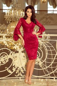 234-1 Koronkowa sukienka z rozkloszowanymi rękawkami - BORDOWA