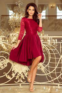 231-1 OLIVIA - sukienka z dłuższym tyłem i koronką - BORDOWA