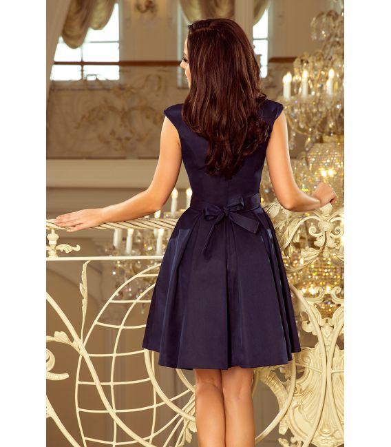 244-2 FLORA sukienka z okrągłym dekoltem i koronką - GRANATOWA