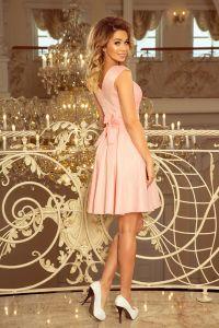 244-1 FLORA sukienka z okrągłym dekoltem i koronką - PASTELOWY RÓŻ