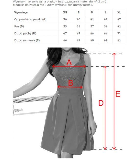208-5 Sukienka z koronkowym dekoltem i kontrafałdami - PASTELOWY RÓŻ