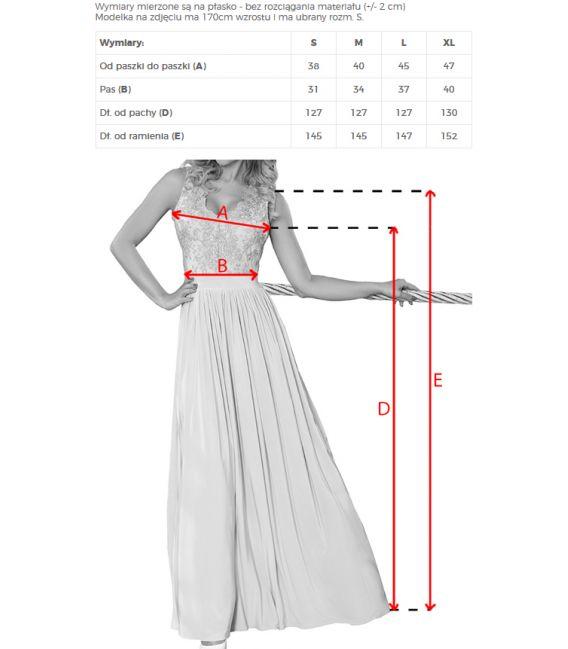 215-4 LEA długa suknia bez rękawków z haftowanym dekoltem - PASTELOWY RÓŻ