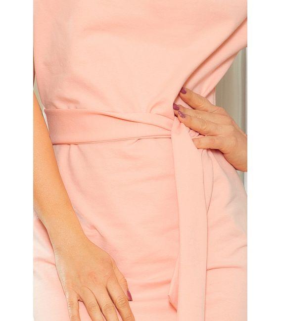 240-3 ROXI sukienka z asymetryczną spódnicą i paskiem - BRZOSKWINIOWA
