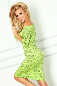 13-35 Sukienka sportowa - Papirus napis + zielony