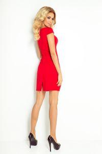 118-2 Sukienka z ładnym dekoltem - CZERWONY