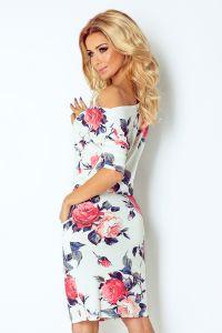 13-49 Sukienka sportowa - ECRU + kolorowe duże CZERWONE kwiaty