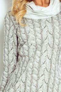 119-1 Golf - sukienka z dużymi kieszeniami - wzór gruby WARKOCZ