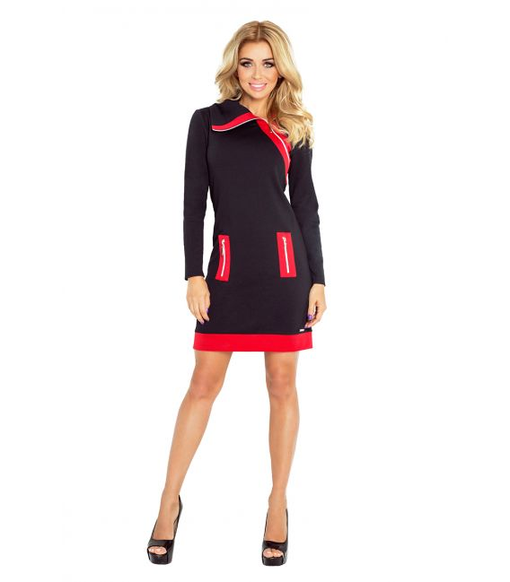 129-4 JUSTYNA sukienka z trzema zamkami - CZARNA + czerwone zamki