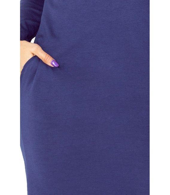 131-5 Sukienka z GOLFEM - grube punto - GRANATOWA