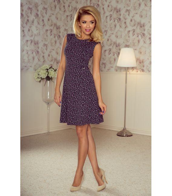 137-3 Sukienka TRAPEZ - GRAFIT + fioletowe małe motylki