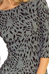 128-1 Sukienka z okrągłym dekoltem na pleach - żakard płomyki