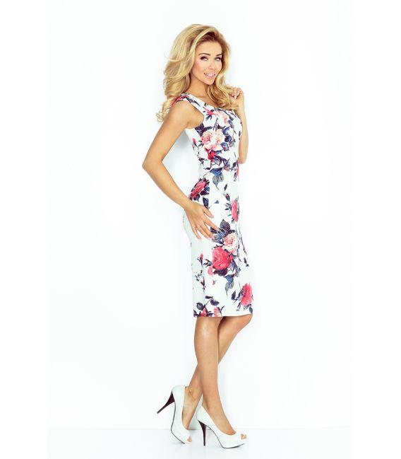 53-30 Dopasowana sukienka - KOLOROWE DUŻE KWIATY