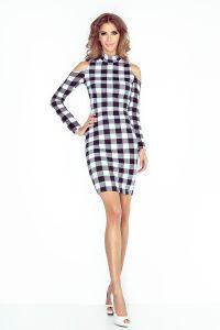 MM 008-2 Sukienka z golfem i długim rękawem - CZARNO BIAŁA KRATKA