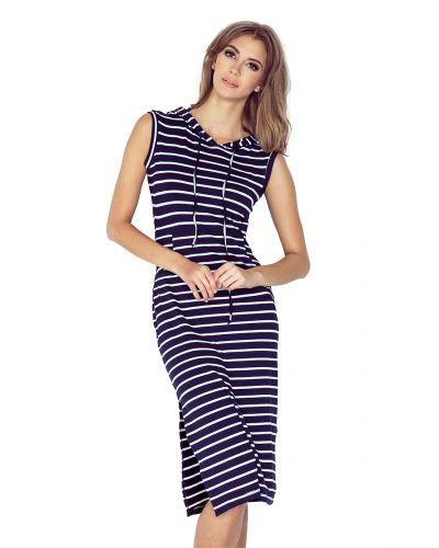 MM 012-1 Sukienka z kapturem - KANGURKA - długa - GRANATOWO-BIAŁE PASY