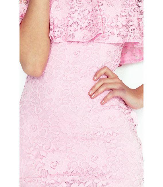 MM 013-2 Sukienka koronkowa - hiszpanka - PASTELOWY RÓŻ