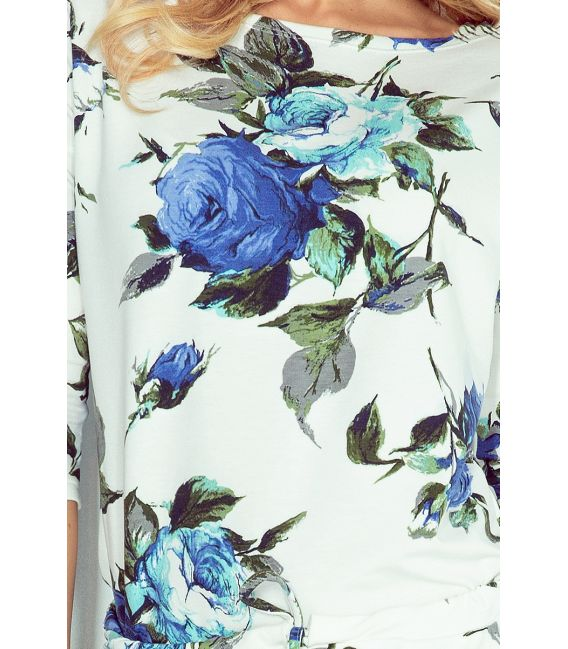 13-65 Sukienka sportowa - ECRU + kolorowe duże CHABROWE kwiaty