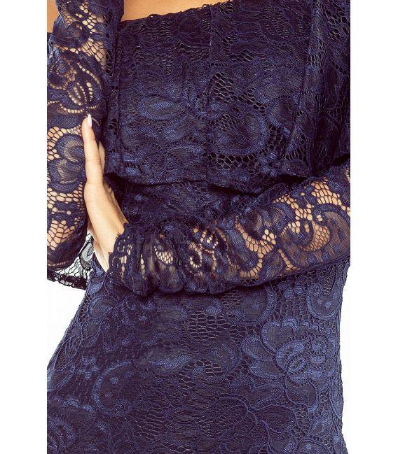 MM 021-2 Sukienka koronkowa - hiszpanka z długim rękawkiem - GRANATOWA
