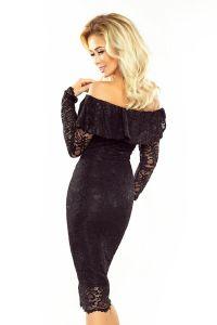 MM 021-1 Sukienka koronkowa - hiszpanka z długim rękawkiem - CZARNA
