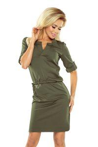 161-2 AGATA - Sukienka z kołnierzykiem - KHAKI