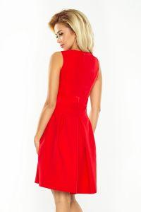 160-3 Sukienka z dekoltem, kontrafałdą i kieszeniami - CZERWONA