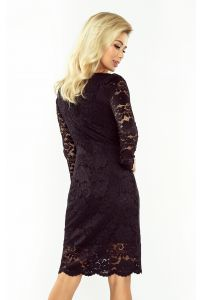 170-1 Sukienka koronkowa z długim rękawkiem i DEKOLTEM - CZARNA
