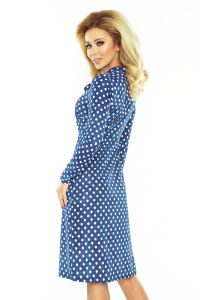 158-1 OLA sukienka trapezowa z wiązaniem pod szyją - GROSZKI