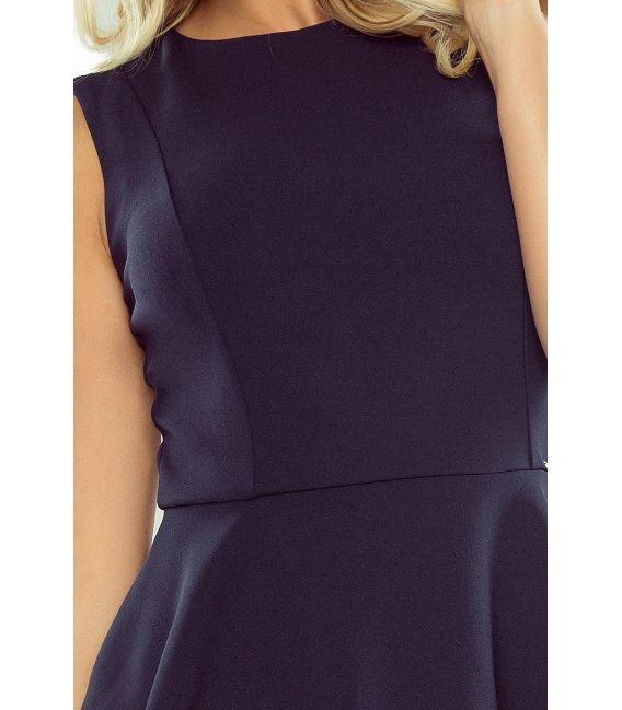 178-2 Asymetryczna sukienka z baskinką - GRANATOWA